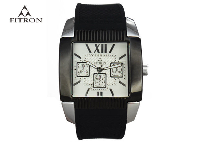 Square Face Silicone Strap Mens Watches Retro Mens Big Face Watches